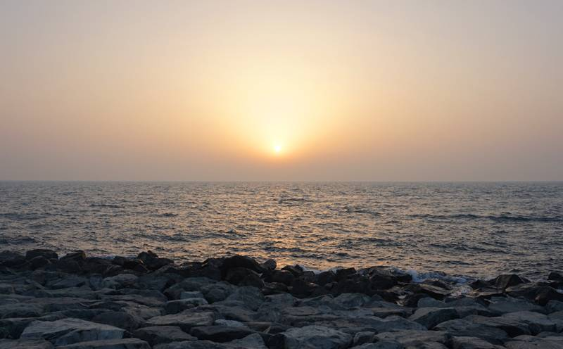 Dawn over the coast of the Persian Gulf, UAE, Dubai